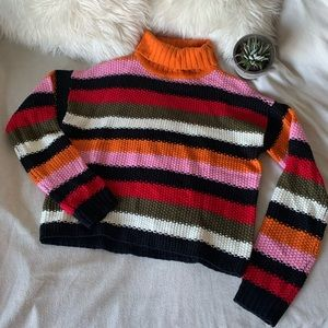 Chunky Knit Colourful Striped Turtleneck Sweater